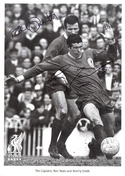 Tommy Smith & Ron Yeats, Liverpool, signed 12x8 inch photo.